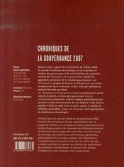 Chroniques de la gouvernance 2007 - 4ème de couverture - Format classique