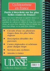 Cyclotourisme en France - 4ème de couverture - Format classique