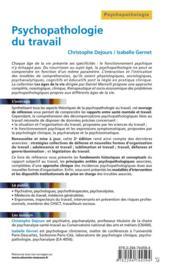 Psychopathologie du travail - 4ème de couverture - Format classique