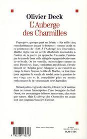 L'auberge des Charmilles - 4ème de couverture - Format classique