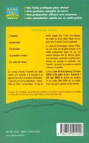 Procedure penale ; 1e et 2e cycle - 4ème de couverture - Format classique