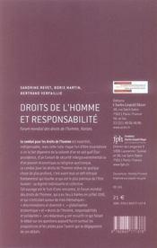 Droits de l'homme et responsabilité - 4ème de couverture - Format classique