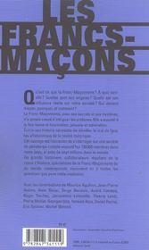 Les francs-macons de la legende a l'histoire - 4ème de couverture - Format classique