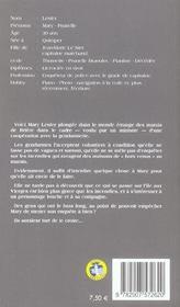 MARY LESTER T.25 ; la variée était en noir - 4ème de couverture - Format classique