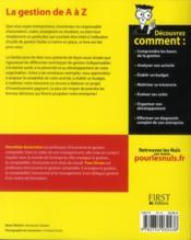La gestion pour les nuls - 4ème de couverture - Format classique