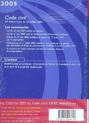 Code civil - 4ème de couverture - Format classique