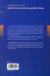 Apport des neurosciences à la psychiatrie clinique - 4ème de couverture - Format classique