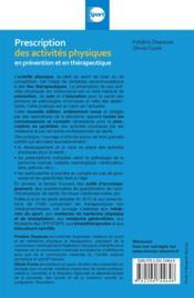 Prescriptions des activités physiques (2e édition) - 4ème de couverture - Format classique