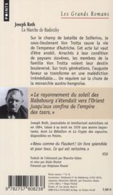 La marche de Radetzky - 4ème de couverture - Format classique