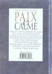 Paix Et Calme - 4ème de couverture - Format classique