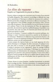 Les élites du royaume ; enquête sur l'organisation du pouvoir au Maroc - 4ème de couverture - Format classique