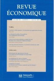 Revue Economique N.62 - Couverture - Format classique