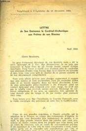 Lettre De Son Eminence Le Cardinal-Archeveque Aux Pretres De Son Diocese - Couverture - Format classique