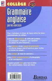 Grammaire anglaise par les exercices ; collège (édition 2002) - 4ème de couverture - Format classique