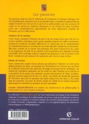 Les passions ; analyse de la notion, étude de textes - Couverture - Format classique