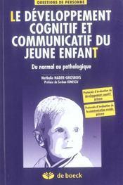 Developpement Cognitif Et Communicatif Du Jeune Enfant (Le) - Intérieur - Format classique