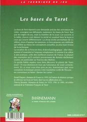 Bases Du Tarot - 4ème de couverture - Format classique