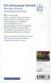 Monsieur Ibrahim et les fleurs du Coran - 4ème de couverture - Format classique