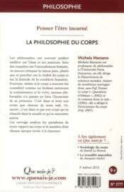 La philosophie du corps (3e édition) - 4ème de couverture - Format classique