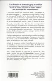 Marie-Antoinette et le comte Fersen ; la correspondance secrète - 4ème de couverture - Format classique