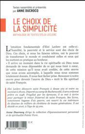 Le choix de la simplicité ; anthologie de textes d'Eloi Leclerc - 4ème de couverture - Format classique