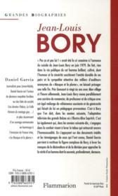 Jean-Louis Bory ; 1919-1979 - 4ème de couverture - Format classique