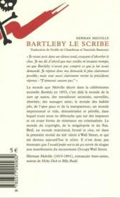 Bartleby le scribe - 4ème de couverture - Format classique