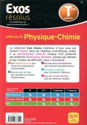 Exos résolus ; physique chimie ; terminale - 4ème de couverture - Format classique