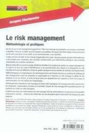 La pratique du risk management - 4ème de couverture - Format classique