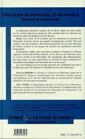 Éducation au Portugal et en France ; situation et perspectives - 4ème de couverture - Format classique