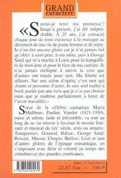 La Vestale Ou Le Roman De Pauline Viardot - 4ème de couverture - Format classique