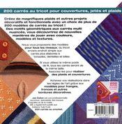 200 carrés au tricot pour couvertures, jetés et plaids - 4ème de couverture - Format classique