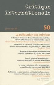 Revue Critique Internationale N.50 ; Politisation Des Individus (Janvier-Mars 2011) - Couverture - Format classique
