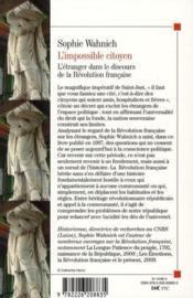 L'impossible citoyen ; l'étranger dans le discours de la Révolution française - 4ème de couverture - Format classique