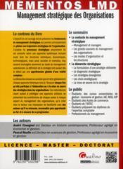 Management stratégique des organisations - 4ème de couverture - Format classique