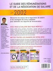 Le Guide 2002 Des Rémunérations Et De La Négociation De Salaire - 4ème de couverture - Format classique