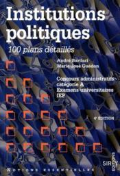 Institutions Politiques 4e Ed N.E - Couverture - Format classique