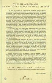 Theorie Allemande Et Pratique Francaise De La Liberte - 4ème de couverture - Format classique