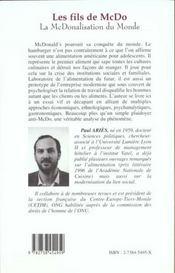 Les Fils De Mc Do, La Macdonalisation Du Monde - 4ème de couverture - Format classique