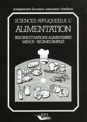 Science appliquee a l'alimentation - Intérieur - Format classique