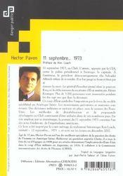 11 Septembre... 1973 - 4ème de couverture - Format classique