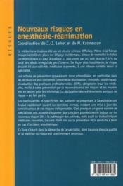 Nouveaux risques en anesthésie- réanimation - 4ème de couverture - Format classique