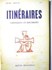 Itinéraires. Chroniques et Documents. Revue mensuelle. N°102. - Couverture - Format classique