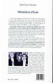 Mémoires d'Iran - 4ème de couverture - Format classique