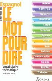 Espagnol ; vocabulaire thématique - Intérieur - Format classique