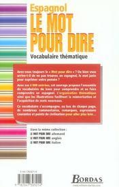 Espagnol ; vocabulaire thématique - 4ème de couverture - Format classique