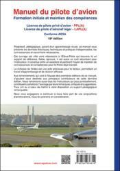 Manuel du pilote d'avion ; formation initiale et maintien des compétences (18e édition) - 4ème de couverture - Format classique