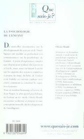 La psychologie de l'enfant 2e ed qsj 369 - 4ème de couverture - Format classique