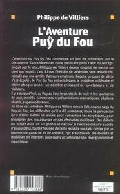 L'aventure du puy du fou (édition 2005) - 4ème de couverture - Format classique