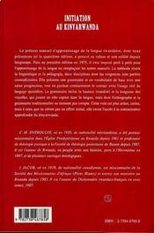 Initiation Au Kinyarwanda ; Manuel D'Apprentissage De La Langue Rwandaise - 4ème de couverture - Format classique